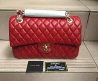 Wholesale double flap purse - High quality fashion women's handbag double shoulder bag quilted chain handbag purse wallet free shipping