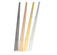 edelstahl stäbchen großhandel-Edelstahl-flache feste Ess-Stäbchen der hohen Grades 304 Multi Farbschutz-Ess-Stäbchen Spiegelpolierte quadratische Essstäbchen zeigten