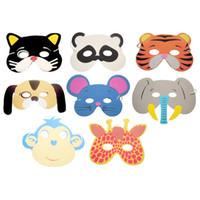 маски для лица животных для детей оптовых-10 Pcs Kids Upper Half Face Masks Christmas Halloween Birthday Party Assorted EVA Foam Cartoon Animal Masks Festive Supplies