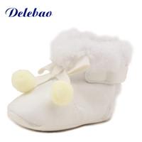 ingrosso puro scarpe sole-Delebao Winter Cotton Peluche Baby Boots per 0-18 mesi Neonato neonato morbido suola Pure Baby Shoes