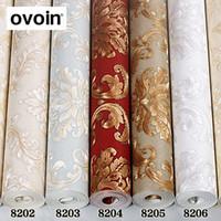 decoración blanca roja de la pared al por mayor-Rojo / blanco / marrón / beige / bronce Lujo europeo con textura de vinilo papel tapiz decoración para el hogar sala de estar de PVC fondo papel de pared
