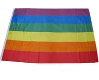 drapeaux colorés achat en gros de-100 Pcs Arc-En-Drapeau 3x5FT 90x150cm Lesbiennes Gay Pride Polyester LGBT Drapeau Bannière Polyester Coloré Arc-En-Drapeau Pour La Décoration 3 X 5FT