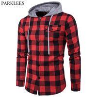 hoodie kırmızı adam toptan satış-Kırmızı Siyah Ekose Kapşonlu Gömlek Erkekler Uzun Kollu Slim Fit Casual Damalı Hoodies Gömlek Erkek Cep Düğmesi Ön Chemise Homme 2XL