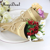 ingrosso imballaggio della scatola di fiori-Eco-Friendly Magideal 50 Pezzi Diy della carta kraft per il regalo Coni Bouquet di fiori Imballaggio di caramella di accessori per la festa nuziale della