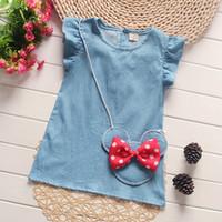 vestido de lazo recto al por mayor-Moda para bebés ropa de vestir de mezclilla Jean Bow sin mangas Vintage diseñador recta primavera verano para niños ropa vestidos FZ013