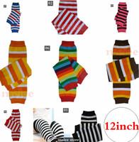 rote babysocken großhandel-Xmas Thanksgiving Day Baby rot schwarz weiß gestreift Regenbogen Beinlinge Säugling Mädchen Jungen Baumwolle Leggings Kinder Socken Legging Beinlinge