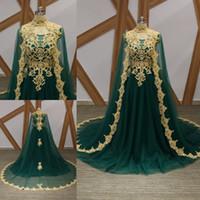 Wholesale Vintage Cape Dress - Latest Green Arabic Long Evening Dresses With Cape Court Train Appliques Beaded Formal Evening Gowns Prom Dresses Vestido De Noche 2018