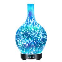 светодиодный фонарь оптовых-3D Светодиодный ночник эфирное масло диффузор оригинальность стекло фейерверк увлажнитель красочные длинный рот аромат туман чайник Home Decor 80xz jj