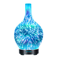 luces de noche de cristal al por mayor-3D Led Night Light Difusor de Aceite Esencial Originalidad Glass Fireworks Humidificador Colorido de Largo Boca Aroma Mist Maker Home Decor 80xz jj