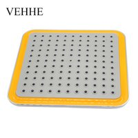 Wholesale Dual Waterfall Shower - VEHHE 8 inch wide square yellow ABS chrome waterfall Shower heads rainfall shower head top handhled nozzle durable VE047
