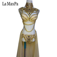 Wholesale new arrival costumes belly dance online - La MaxPa new arrival sexy female singer costume dj ds western regions style women stage costume silver gold dance outfit