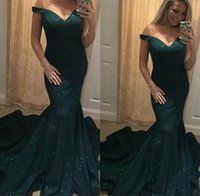 Wholesale blue fantastic - Fantastic Dark Green Lace Mermaid Evening Dresses 2018 Off-the-shoulder Neck Long Sleeve Prom Dress Gowns Formal Dresses Evening Wear