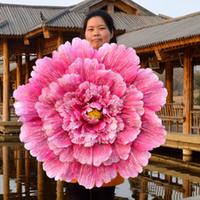 ingrosso bambini ballano ombrelli-Handmade Peony Flowers Umbrella Resuable Eco Friendly Ornamenti di nozze per bambini e donne Performance Dance Puntelli Moda 23rc4 X