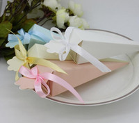 Wholesale Decorative Paper Gift Boxes - Gift Box Wedding Paper Cones Candy Box Wedding Favors Marriage Cones Emballage Baby Shower Packaging Box