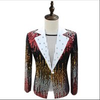 Wholesale host club - S~5XL! New 2018 Nen's clothing PLUS SIZE GD male singers hosts sequins wear DJ night clubs singer costumes