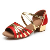 Wholesale tango dancing shoes women - Hot Sale Fashion Style Women Kid Children's Ballroom Latin Tango Dance Shoes heeled