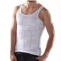 camisetas negras sin mangas para hombre al por mayor-Nueva moda para hombre Tank Tops Blanco negro cuerpo que adelgaza Super Stretch Casual chaleco Sexy Men's camiseta sin mangas delgada