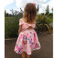 Wholesale Big Bow Dress Girls - Girls Floral Printed Dress Hollowed Back Big Bow Baby Girls Dresses Bow Breathable Cool Summer Skirt Outfit 2-7T