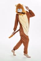 nuevo disfraz de tigre al por mayor-Nuevo león tigre Pijamas para adultos Traje de cosplay Ropa de dormir de Onesie Ropa de casa Unisex Pijamas Ropa de fiesta Mujer Hombre niño