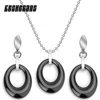 einfache brautschmucksets großhandel-Einfache Art-runde Keramik-Schmuck-Set Ohrringe Anhänger-Halskette Klassisches Schwarz-weißes für Frauen Statement Brauthochzeitsfest