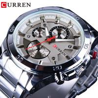 вахта mens нержавеющей стали curren оптовых-CURREN Silver Stainless Steel Luminous Waterproof Mens Watches Top  Quartz  Sport Wrist Watch Creative Clock