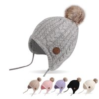 Wholesale cashmere baby crochet hats online - Twist Newborn Baby Hat Velvet Ear Protection Toddler Hat Cotton Warm Winter Beanie For Baby Girls Lace Up Infant Hat With Ball