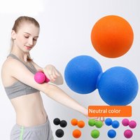 Wholesale wholesale exercise balls - Fitness Massage Ball Therapy Trigger Full Body Exercise Sports Crossfit Yoga double Balls Relax Relieve Fatigue Tools GGA609 20pcs