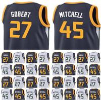 Wholesale Basketball Pick - Men's 2018 New Draft Picks 45 Donovan Mitchell Jersey Blue White 27 Rudy Gobert Embroidery stitched Jerseys Fast Free Shipping