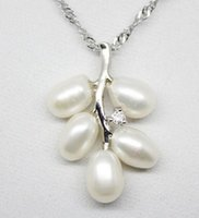 Wholesale white akoya cultured pearl necklace - 6-7mm White Natural Akoya Cultured Pearl Leaf Shape Pendant Necklace