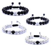 ingrosso tessere il braccialetto in rilievo-Braccialetti di pietra lavica perline tessitura agata nera pietra bianca braccialetto braccialetto di pietra naturale per le donne gioielli moda gioielli 8mm perline
