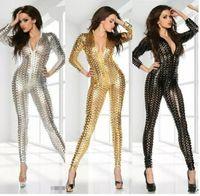 preis overalls großhandel-Sexy Club Jumpsuits Gold Schwarz Sliver Frauen Wet Look Jumpsuit Body Großhandelspreis Sexy Vinyl Frauen Catsuit Overall Kostüm