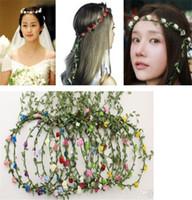 couronne de fleurs hawaii achat en gros de-Tête de mariage tête nuptiale couronne de fleurs guirlande guirlande Hawaii tête de fleur guirlande bohème bandeaux TO432