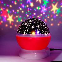 iluminação lanternas céu venda por atacado-Rotação automática Sky Starry Lâmpada de Projeção Estrelas Lua Colorido Lanterna USB Broca Starlight Projetor LED Pequena Noite-luz