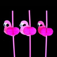 Wholesale Party Decorations Engagement - 25pcs Flamingo on Paper Straws Wedding birthday Engagement Hawaiian Luau Decoration Tropical Drinks tea party favors wn122