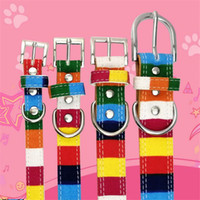 Wholesale collars cats for sale - Group buy Colorful stripes pets collar lovely pet dog collar adjustable top quality pet cat necklace leashes nice pet supplies free ship