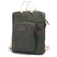 Wholesale hunting oil resale online - 17 Inch Vintage Oil Waxed Canvas Backpack Shoulder Bag School Bag Waterproof Outdoor Business Rucksack Satchel Laptop Bag Casual Daypack