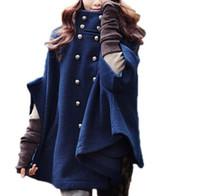 ingrosso lana a ponte-Doppiopetto in lana Poncho Capo femminile Mantello Coat Outerwear