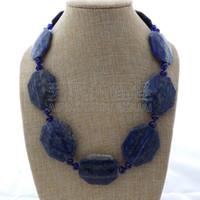 Wholesale faceted plastic resale online - N012613 quot Natural faceted Lapis Chunk Necklace