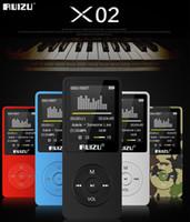 libro de voz al por mayor-Reproductor de MP3 RUIZU X02, versión en inglés 100% original Mp3 portátil 4G / 8G / 16G Puede reproducir 80 horas con radio FM E-Book, reloj grabador de voz gratis O
