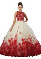 Wholesale Ball 3d Model - Fashion Two Pieces Quinceanera Prom Dresses Cheap 2018 New Stylish 3D Floral Flowers Sheer Jewel Neck Applique Red Lace Bead Sweet 16 Dress
