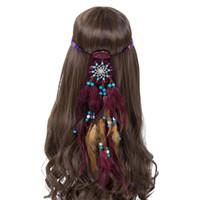 Wholesale hair bands stoned resale online - 3PCS Haimeikang Handmade Adjustable Women Feather Headband Bohemian Dream Catcher Stone Hair Bands Festival Hippie Headdress