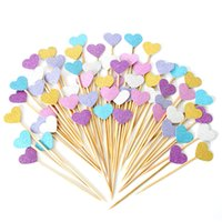 Wholesale hot pink cupcakes resale online - 10pcs Pink Style Cupcake Toppers Originality Dessert Table Arrangement Love Heart Cake Toothpick Flag Hot Sale yr Ww