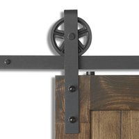 Wholesale industrial hardware - 6.6FT Big Industrial Wheel Sliding Barn Door Hardware Heavy Duty Sliding Barn Door Hardware Kit Big Industrial Wheel Hangers