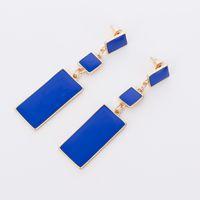 Wholesale blue enamel flower earrings - Fashion Design Geometry Gold Color 4 Color Alloy Blue Enamel Drop Earrings For Women Long Earrings On Valentine's Day E002
