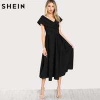 Wholesale Bardot Dress - SHEIN Box Pleated Cross Wrap Bardot Dress Womens Black V Neck Short Sleeve A Line Dress Zip Back Elegant Party