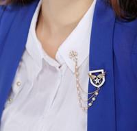 broche cruz pérola venda por atacado-Moda europeia e americana moda asas de anjo star cross pearl tassel broche