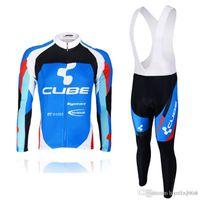 würfel pro großhandel-Pro Team CUBE lange Ärmel Radfahren Trikot Radfahren Shirts Trägerhose Anzug MTB Fahrrad Maillot Ropa Ciclismo Fahrrad Kleidung C0401