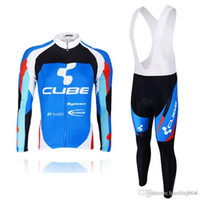 bisiklet takım giysileri uzun toptan satış-Pro team KÜP uzun Kollu bisiklet jersey bisiklet gömlek önlük pantolon takım MTB bisiklet maillot ropa Ciclismo Bisiklet giyim C0401