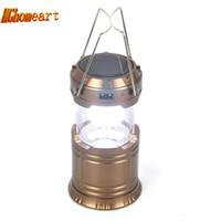 suya dayanıklı lambalar toptan satış-Süper Parlak 6 LED Kamp Fener Güneş Akümülatör güç banka Açık Taşınabilir Işıkları Su Dayanıklı Kamp Aydınlatma Lambası