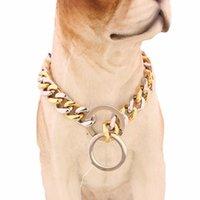 cadenas de 14 pulgadas al por mayor-De calidad superior 14 mm 12 ~ 30 pulgadas de oro plata tono doble bordón cubano mascota enlace collar de cadena de perro de acero inoxidable al por mayor collares de mascotas